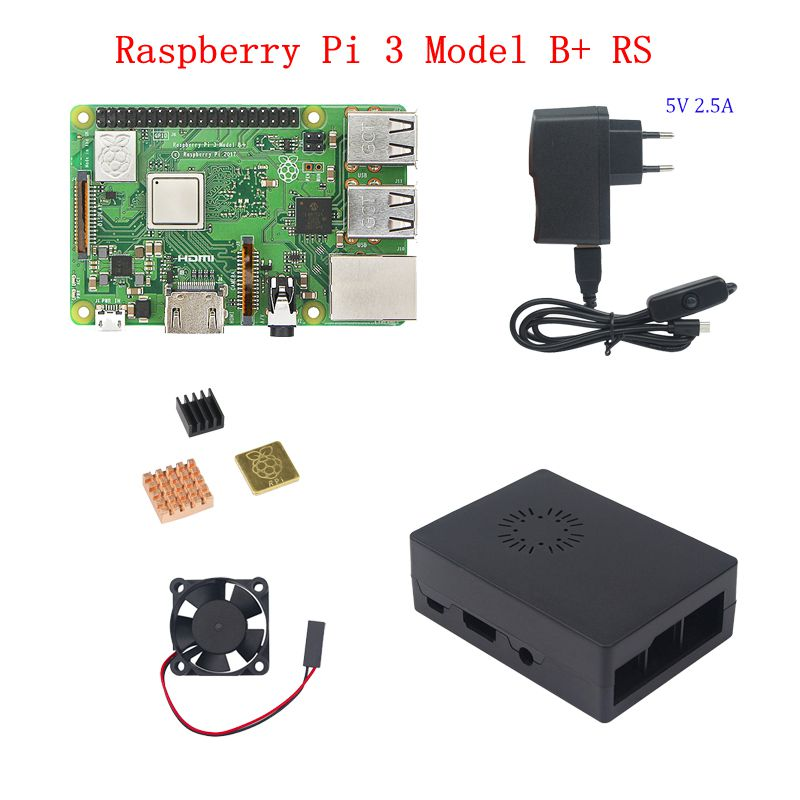 Raspberry Pi 3 Model B+ Plus kit Raspberry Pi 3 Model B+3pcs Heat Sink+ABS Case+5V 2.5A Power Adapter for Raspberry Pi 3B+/3 original uk raspberry pi 3 starter kit abs case 2 5a power supply adapter aluminum heat sink for raspberry pi 3 model b