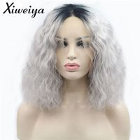 Xiweiya Short Bob Curly Hair Ombre Silver Grey Synthetic Lace Front Wigs Dark Root Heat Resistant Fiber Women Hair Cosplay Wigs