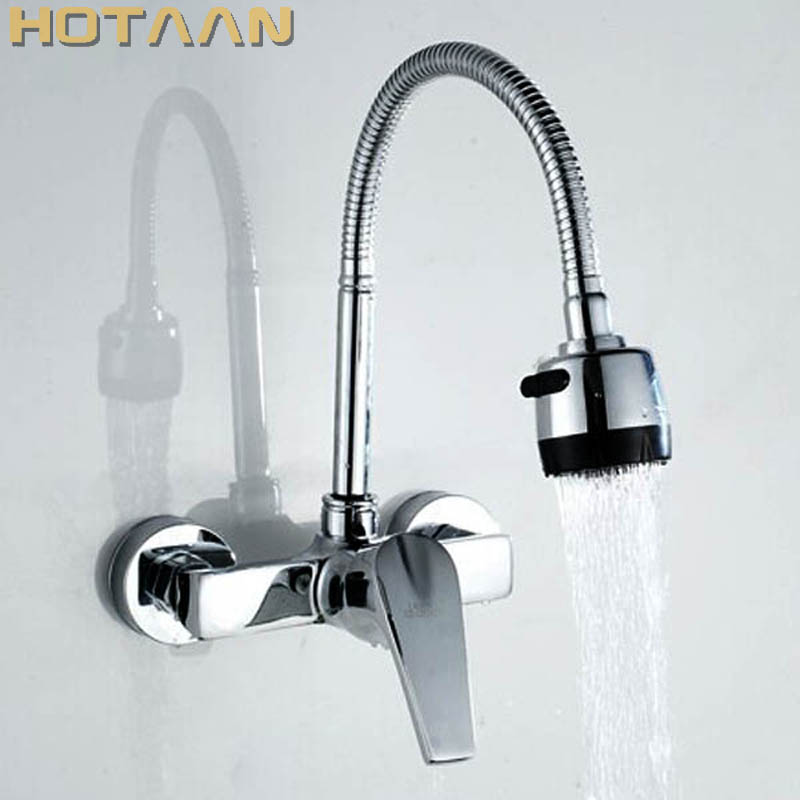 FREE SHIPPING Brass Chrome Taps For Kitchen Sink Kitchen Tap Dual Hole Wall Kitchen Mixer Kitchen Faucet Torneira Cozinha YT6030