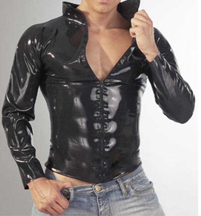 패션 블랙 라텍스 셔츠 남성 전면 지퍼 섹시한 고무 코트 플러스 사이즈 뜨거운 판매