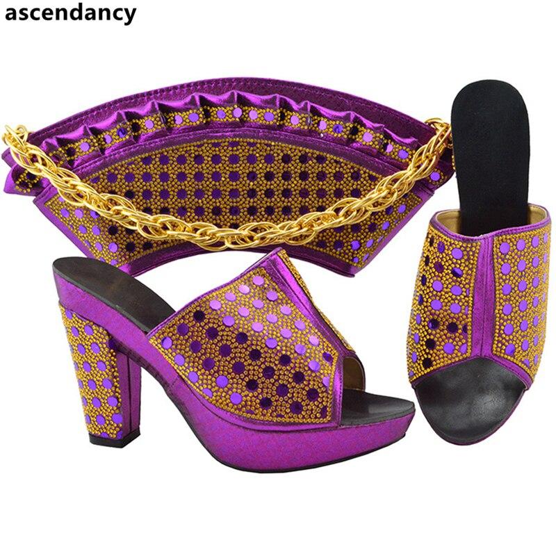 Femmes teal 2018 Nigérian Luxe Designer Royal Chaussure Avec bleu Ensemble Et or Sac Style Chaussures Africains pourpre Noir De Décoré Arrivée Strass rouge Nouvelle qwUaOO