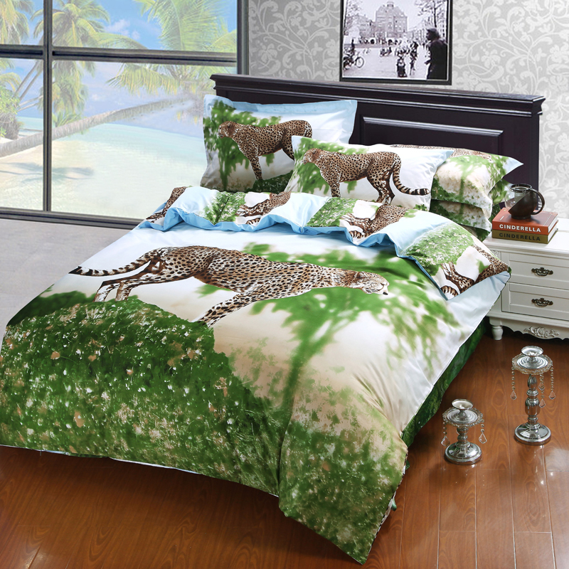 3d oil painting animal cheetah bedding sets queen size 100 cotton leopard printed bedroom sets - Bed Set Queen