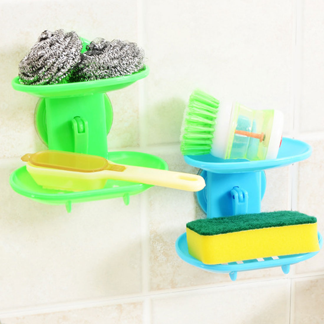 Double Layers  Strong Sucker Holder Soapbox Storage Basket Stand Soap Dish Kitchen Bathroom Products