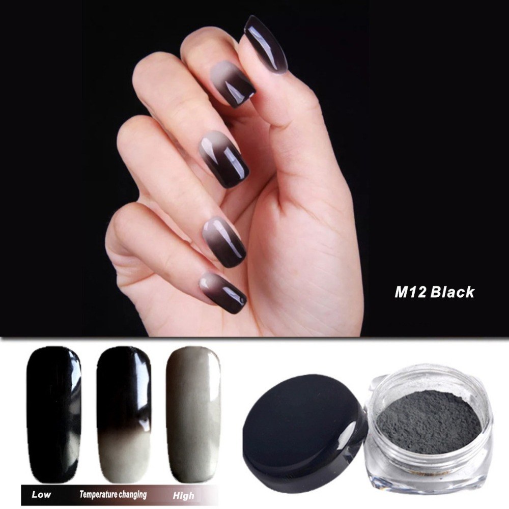temperature color change nail glitter powder chrome bling