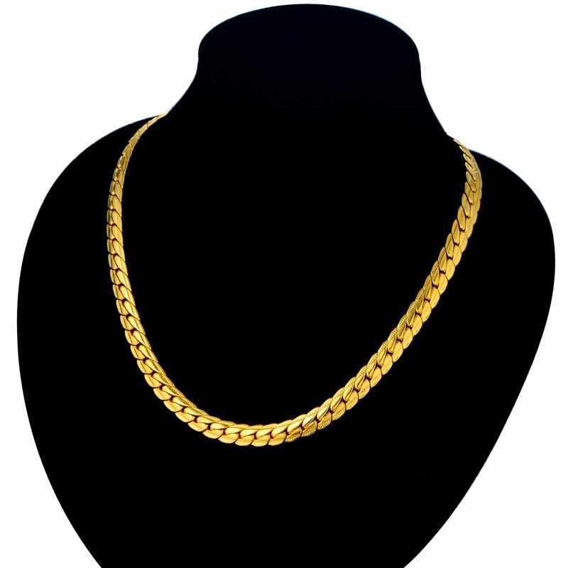 Corrente masculina de cobra, colares vintage para homens, corrente de pescoço dourado de aço inoxidável, joia punk, xl681