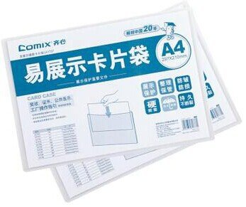 Comix A1737 , Transprent Plastic File Cover ,File Bags ,A4, Size :315*222mm 85g, One Packages Of 1pcs ,Color Transparent, Free S