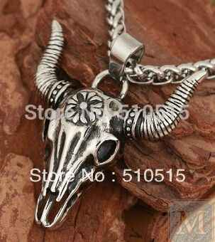Regalrock Totem Bison La Brea Tar Hố Trâu Đầu Bò Skull Necklace
