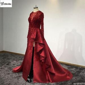 Image 3 - Surmount Angepasst Sexy Rot Kleider Oansatz Langen Ärmeln Rock mit Schlitz Zug Rot Abendkleid vestidos de festa Prom Kleider