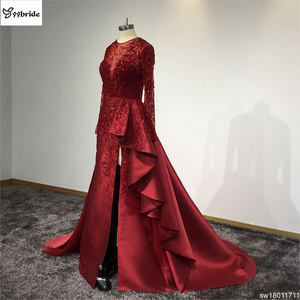 Image 3 - Surmount Customized Sexy Red Dresses O neck Long Sleeves Skirt with Slit Train Red Evening Gown vestidos de festa Prom Dresses