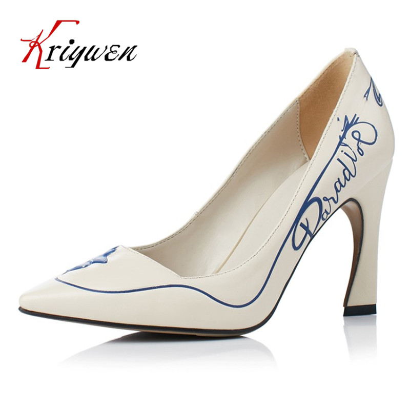 ФОТО Spring new arrive brand 100%cow genuine leather high heeled pumps for female sexy lady classics dress shallow pointed toe Shoes