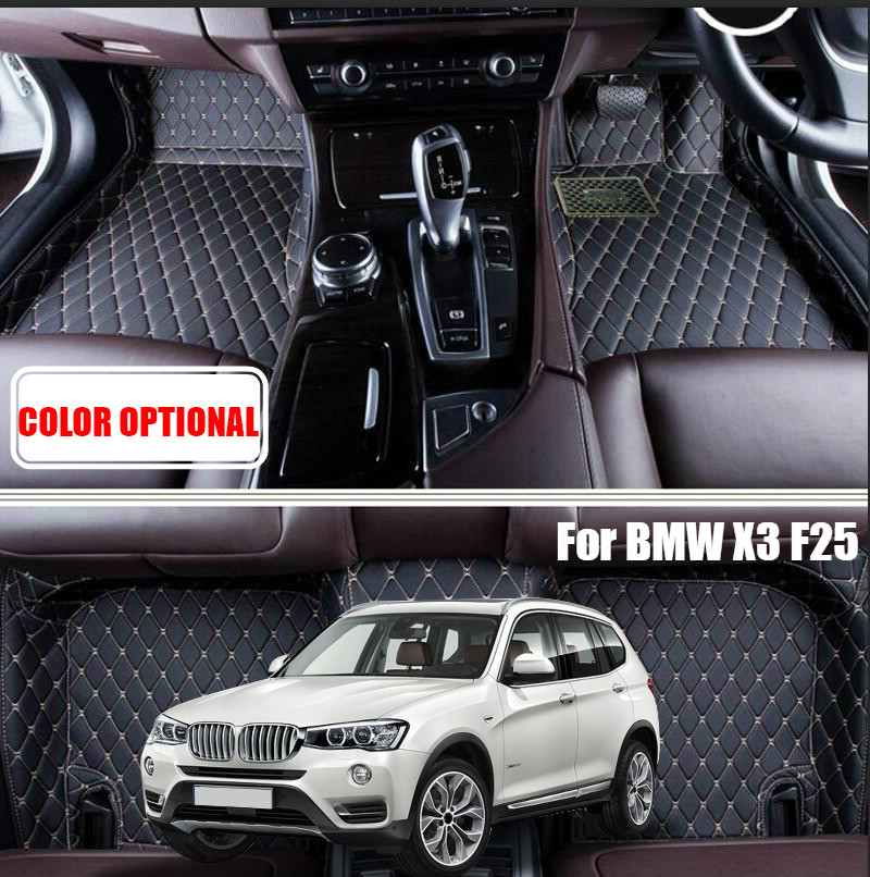 Custom Car floor mats carpet pad for BMW X1 F48 2016 / X3 E83 2006-2011/ X3 F25 2015 2016 Auto accessories Car styling floor mat interior leather custom car styling auto floor mats
