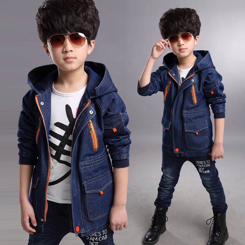 Boy coat children's clothing spring 2016  new Korean version of the big boy child windbreaker jacket and long sections cowboy купить дешево онлайн