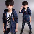 Boy coat children's clothing spring 2016  new Korean version of the big boy child windbreaker jacket and long sections cowboy