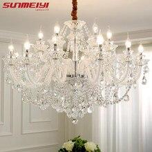 Lustre en cristal de luxe, éclairage moderne de grande taille, pour salon, chambre d'hôtel