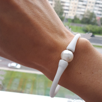 Silicone Bracelet With Pearl
