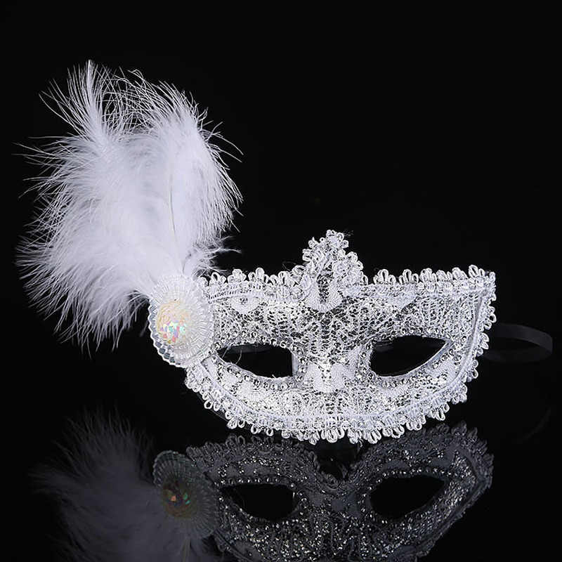 1pc Women Sexy Venetian Lace Feather Flower Eye Masks Christmas Halloween Masquerade Mask Girls Half Face Party Dance Headwear