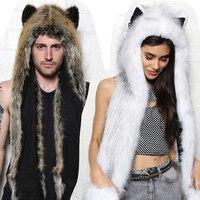 Warm Winter Hat Scarf Shawl with Gloves Set Faux Animal Fur Hat Fluffy Plush Cartoon Animal with Long Scarf