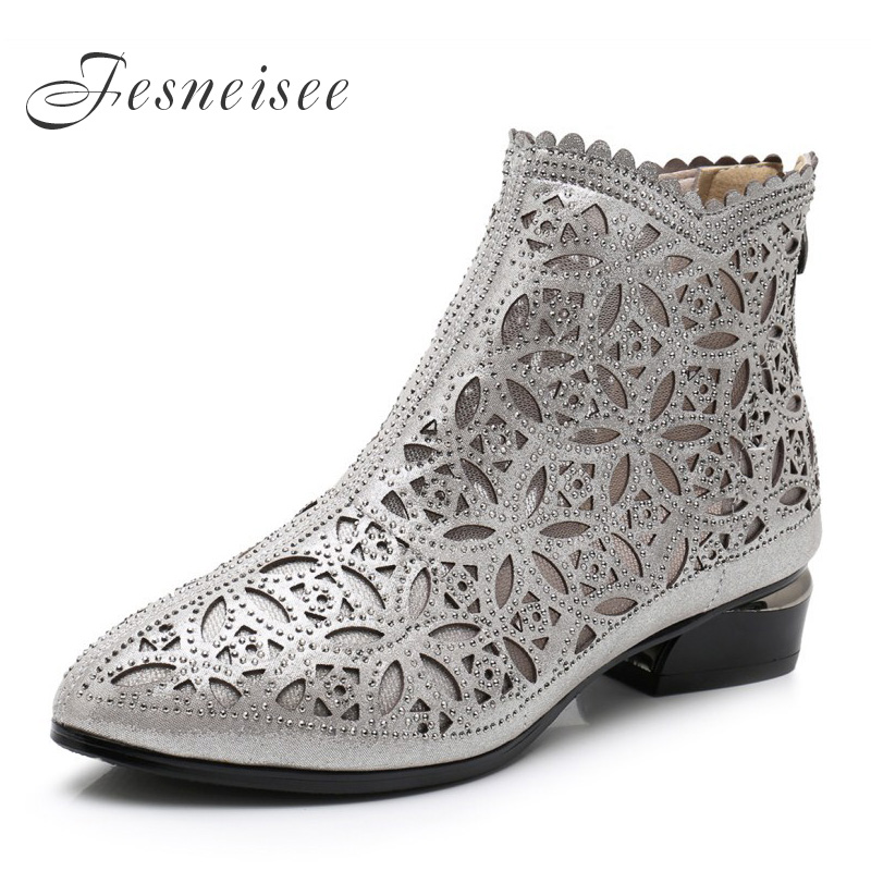 Fesneisee Women Boots Hollow-Out Ankle Boots Crystal Mesh Summer Boots Zapatos Chaussures Femme Square High Heels Women ShoesFesneisee Women Boots Hollow-Out Ankle Boots Crystal Mesh Summer Boots Zapatos Chaussures Femme Square High Heels Women Shoes