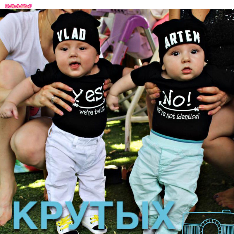 Culbutomind Yes We are Twins No We are Identical Print Newborn Twins Boys Girls Clothing Twins Matching Set withPersonalizeBeani ...