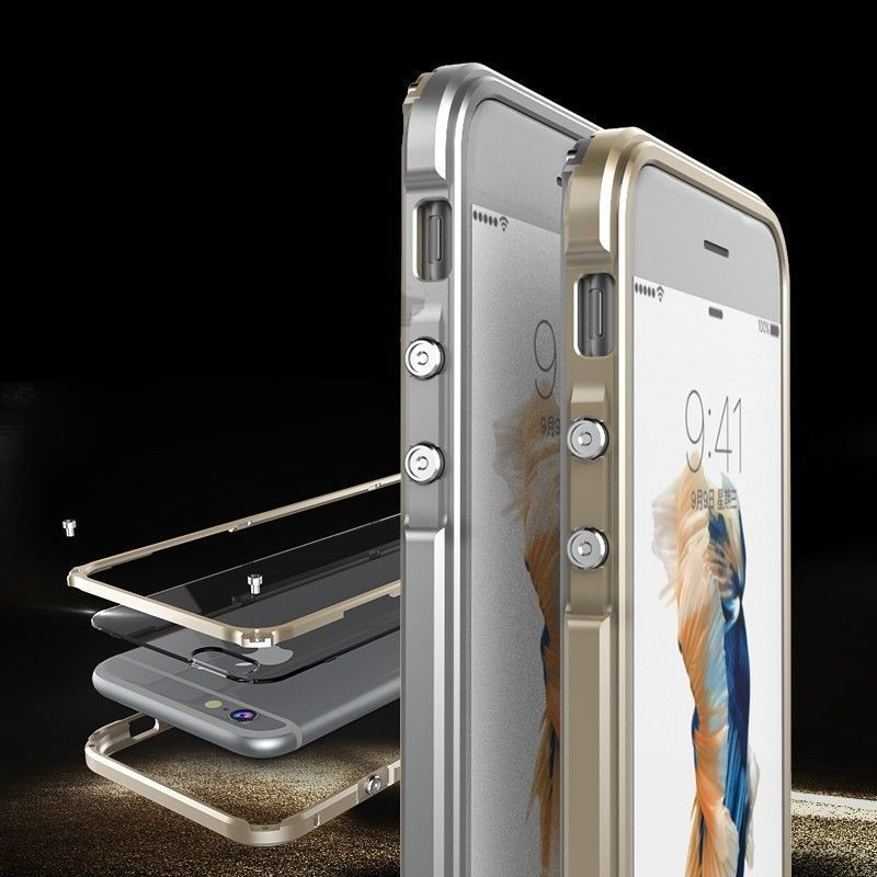 Ginmic Aluminum alloy Metal Bumper Frame PC transparent hard Clear Back Cover for Apple iPhone 6s