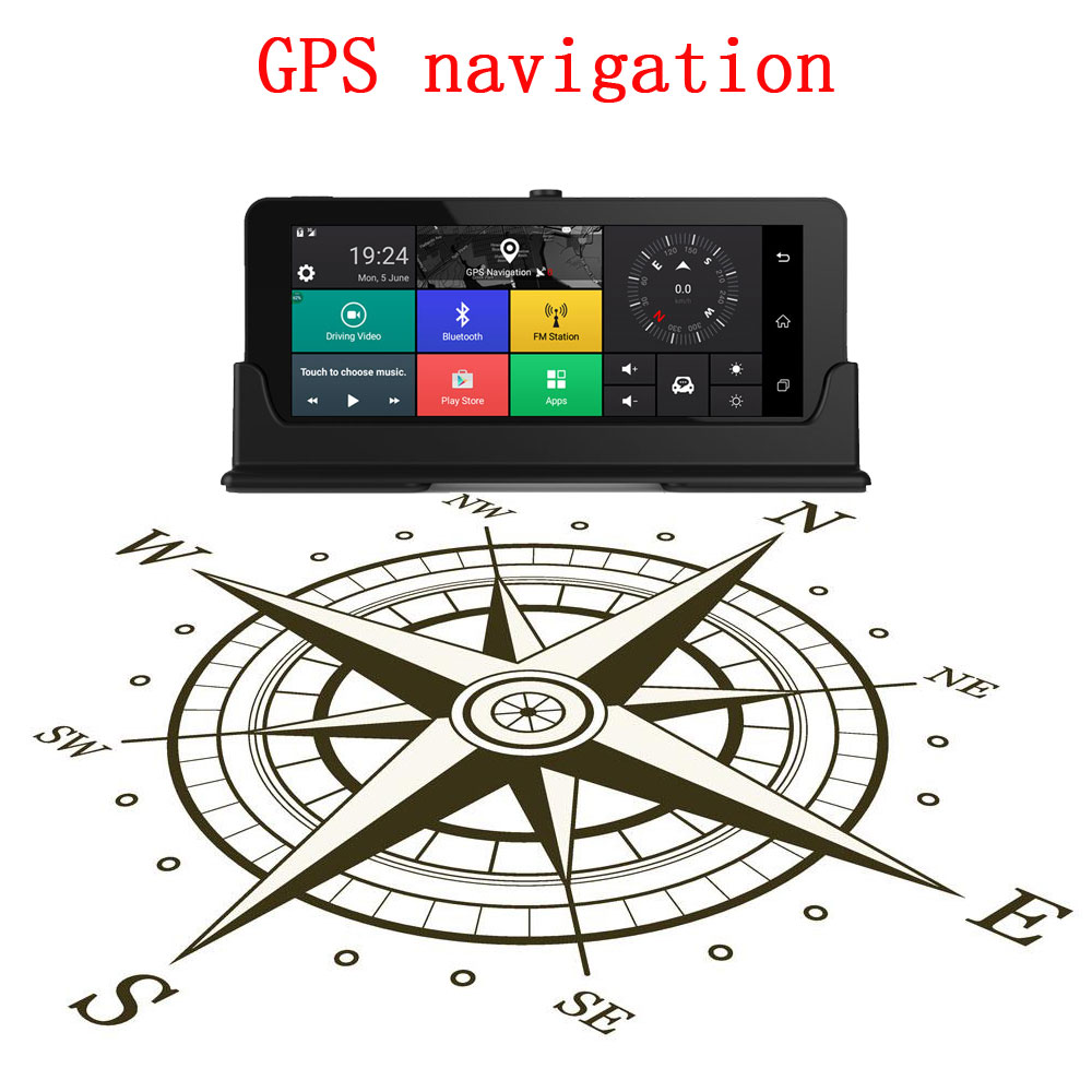 Podofo 4G 7 Car DVR GPS Navigation Bluetooth Android Automobile Dashcam HD Vehicle gps sat nav Free maps With Rear View Camera