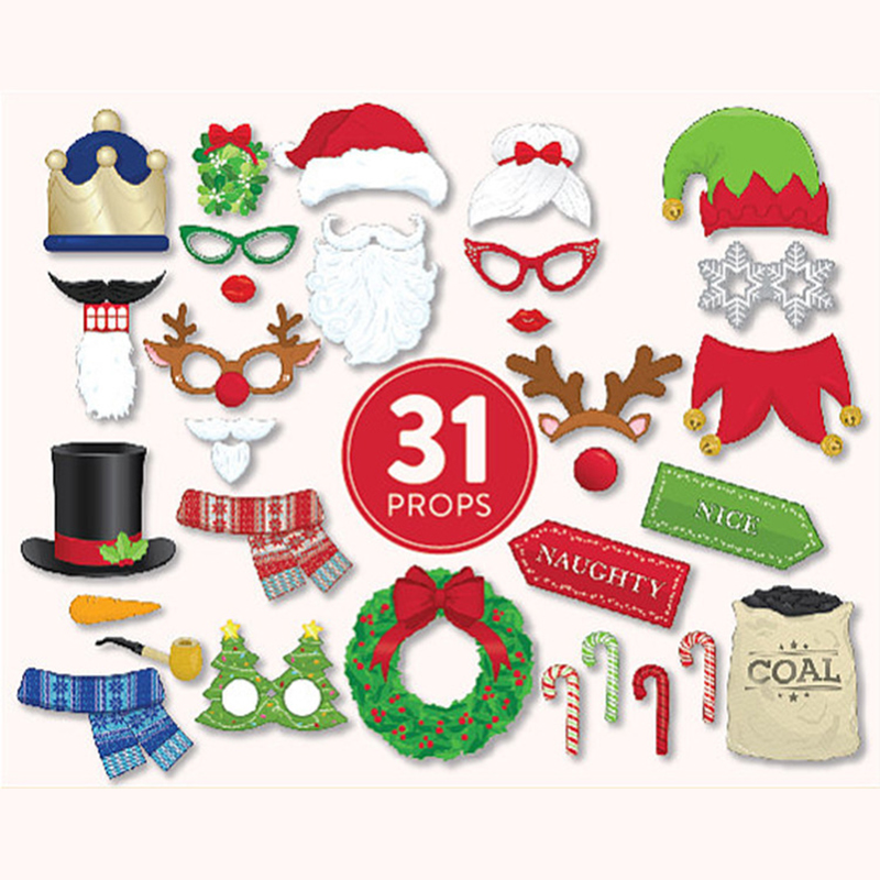 20Pcs Christmas Santa Hat Party Masks Photo Booth Props Mustache On A Stick