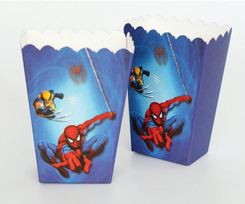 6pcs/lots <font><b>Spiderman</b></font> Cartoon Prints Popcorn <font><b>Cup</b></font> Box Happy Birthday Party <font><b>Candy</b></font> Box For Kids Favor Gift Supplies
