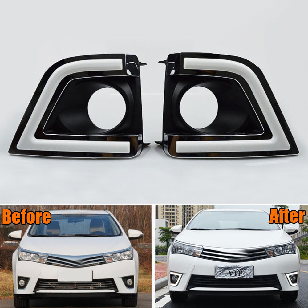 1Pair ABS White LED Daytime Running Lights DRL Fog Lamps Trim Frame Decoration For Corolla 2013 2014 2015 Car Styling car covers