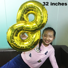 1 PCS 32 inch Number Balloon Large Digit Helium foil Ballons Baby Shower Birthday Party Wedding Decoration Balls Supply
