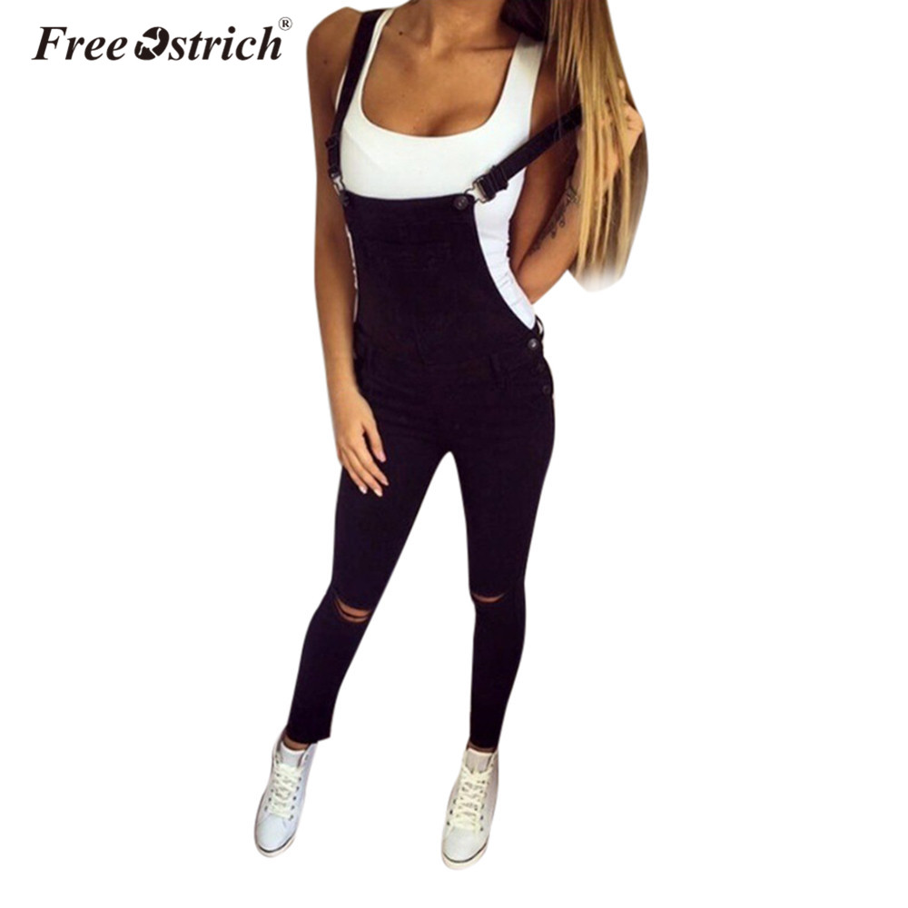 Free Ostrich   Jumpsuit   2019 Women Loose Denim Bib Hole Pants Overalls Jeans Demin Trousers S40