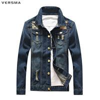 VERSMA Fashion Male Denim Jacket Men American Denim Shirt Boys Ripped Denim Jacket Patches Chemise Vintage Mens Fancy Shirts 4XL