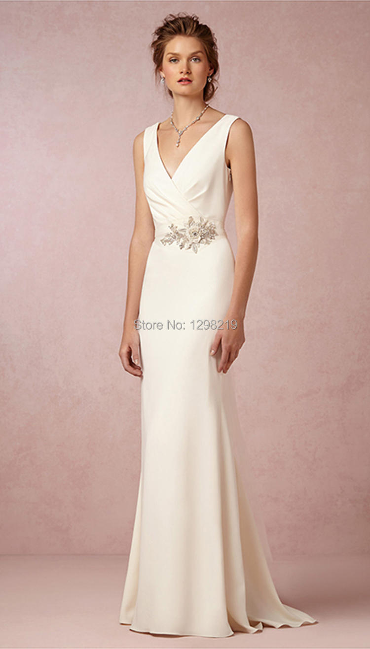 New Wedding Reception Dresses White Ivory Satin Sleeveless Open Back ...