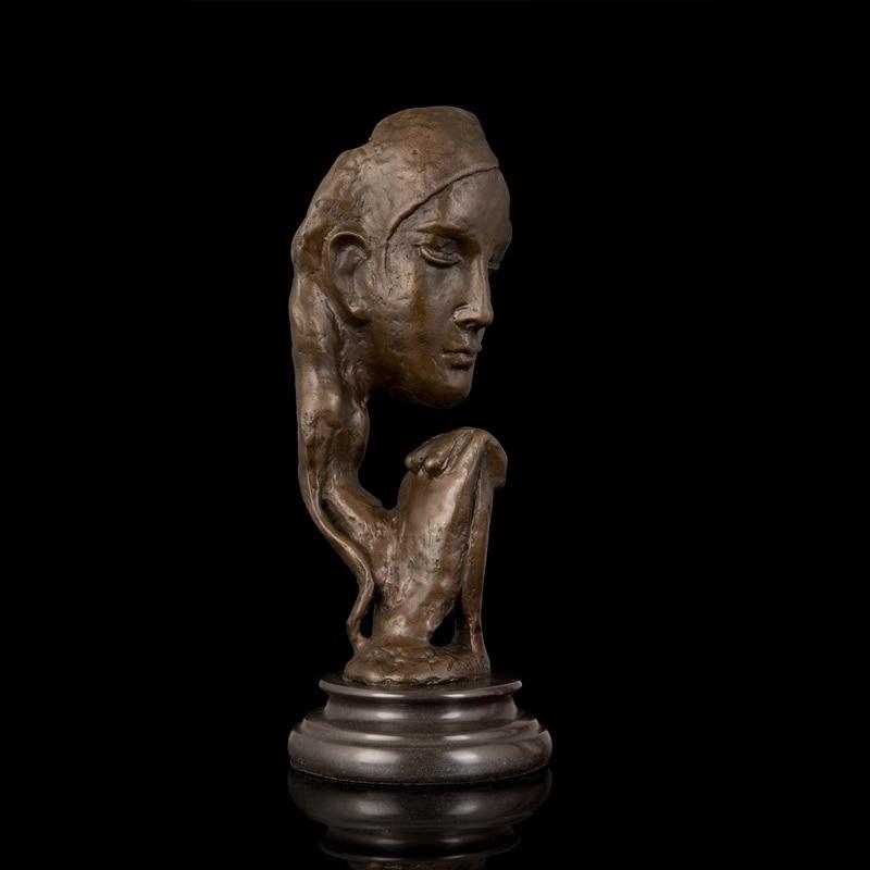 ATLIE BRONZES Umělecká socha Figurka Dárky Starožitnosti vintage Abstrakt Tvář Tvář Bronzová Socha Modlitba Dívka Rodin