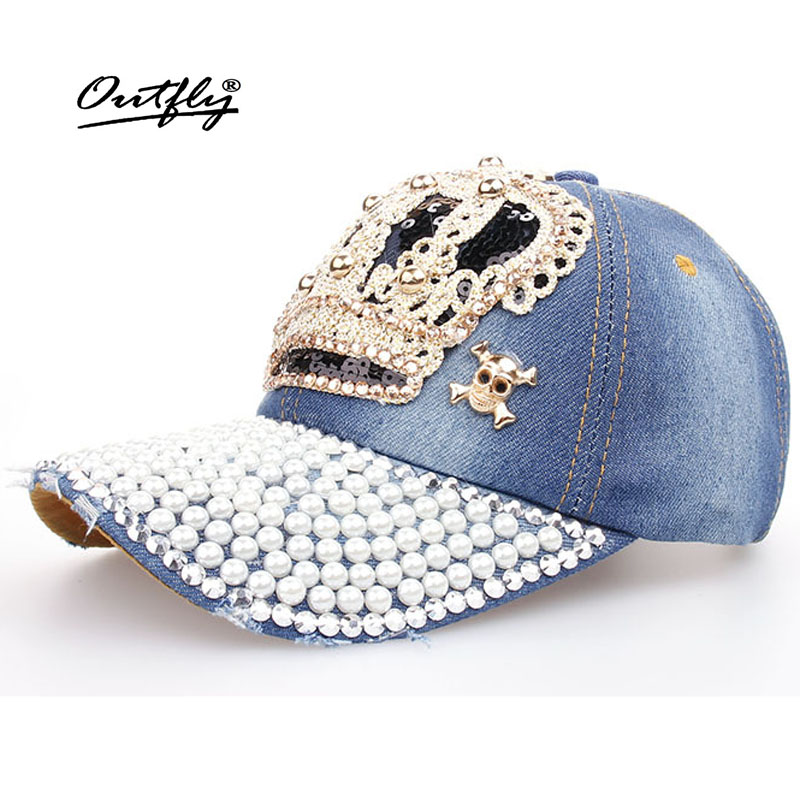 Crown Point drill pearl cowboy hat women Denim baseball cap snapback Hat Outdoor Sport Rhinestone sun jean Hat casquette b110 cowboy hat cap cap flat top hat lace rhinestone flower hooded fashion tide cap cap riding hood