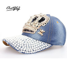Crown Point drill perla sombrero de vaquero mujeres Denim gorra de béisbol  del sombrero del SnapBack 3ee3a616bc6