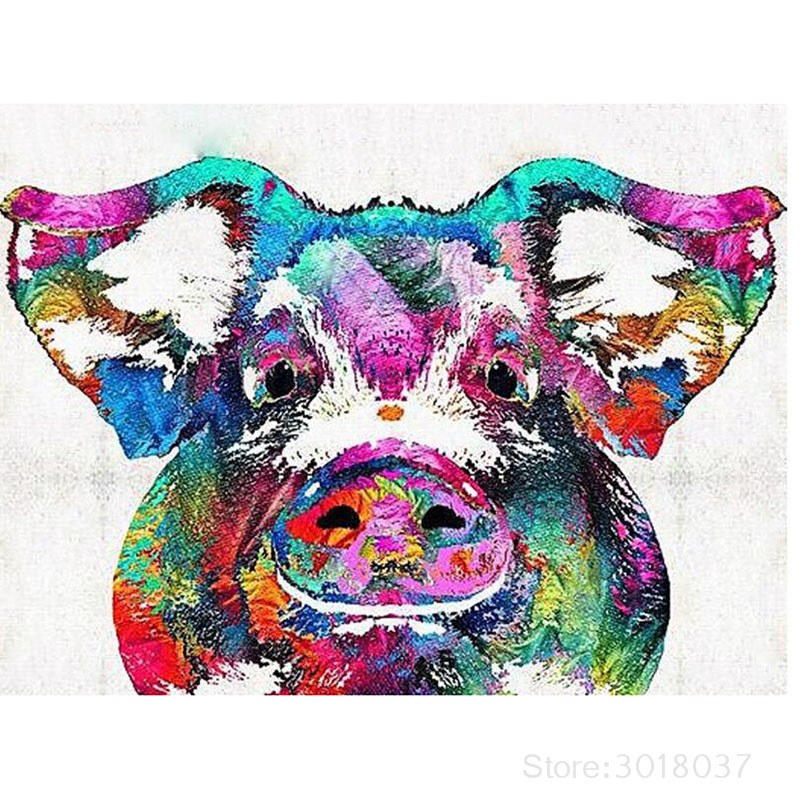 5D Diy Diamond Painting Cross Stitch Obese Colored Pig Needlework 3D Diamond Embroidery Full Round Mosaic Decoration Resin Kits ...