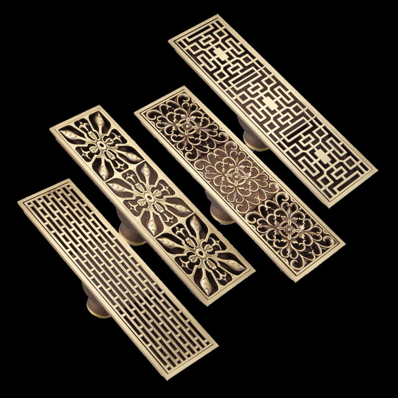 Free Shipping Antique Brass 8 x 28cm Bathroom Linear Shower Floor Drain Wire Strainer Waste Drainer Flower Carved FD015 euro square antique brass art carved flower bathroom sanitary floor drain waste grate