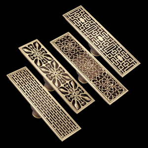 Free Shipping Antique Brass 8 x 28cm Bathroom Linear Shower Floor Drain Wire Strainer Waste Drainer Flower Carved FD015