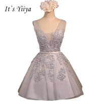 It S YiiYa 2017 Gray Chamgagne V Neck Lace Sleeveless A Line Mini Cocktail Dresses Appliques