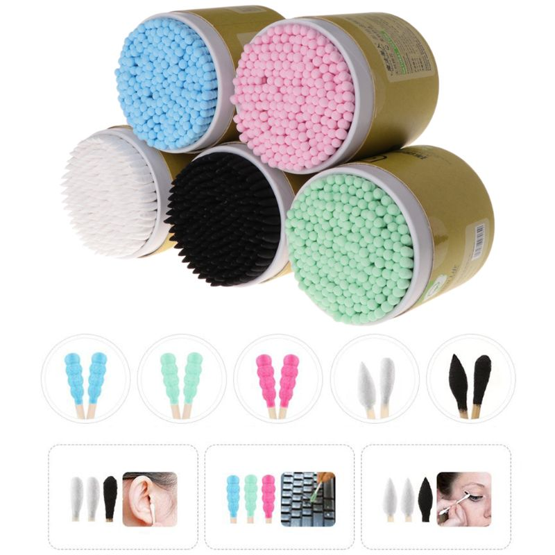 200pcs Bamboo Cotton Swab Wood Sticks Soft Cotton Buds Ceaning Of Ears Tampons Mini Individual Applicators Home Mascara Brush
