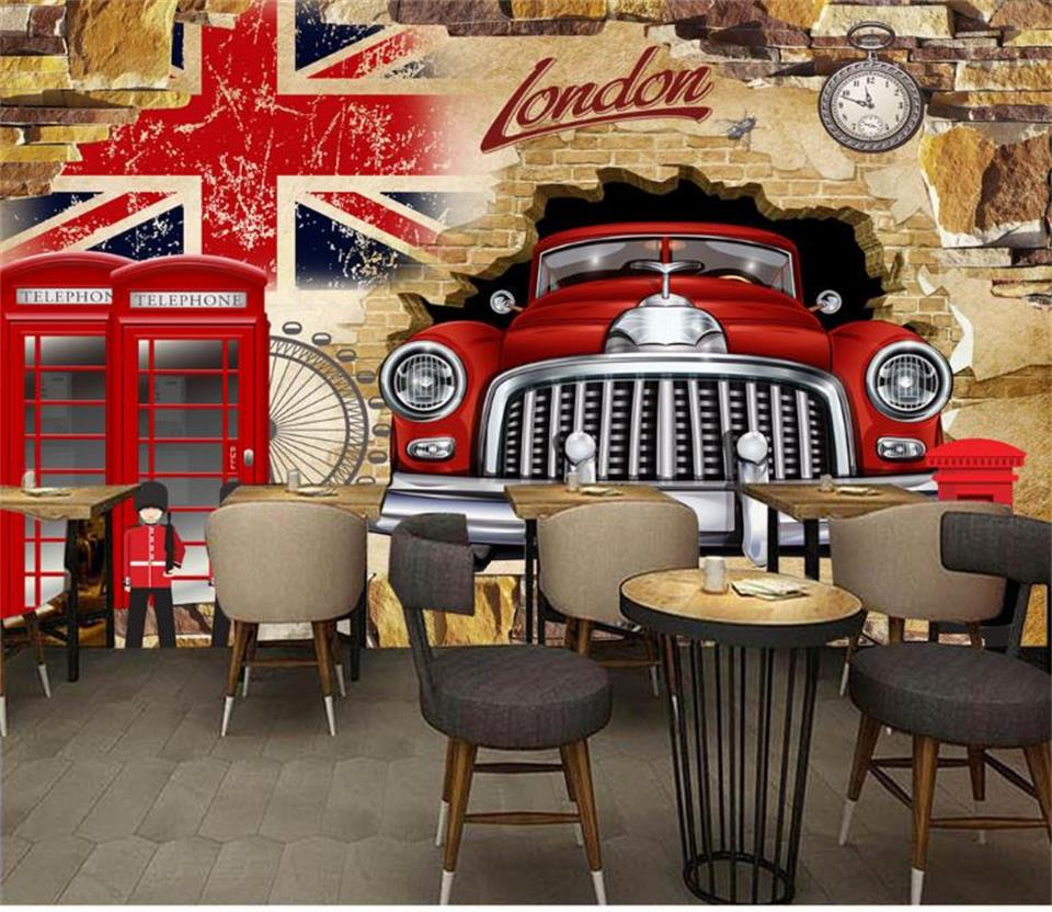 3d photo wallpaper custom living room kids mural British flag Car breaking wall photo picture KTV 3d mural wallpaper for wall 3d lavender windmill natural landscape vintage 3d room photo wallpaper for 3d livingroom wall paper prints kids wall mural rolls