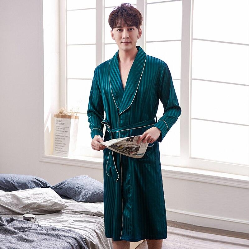 2021 New Spring Autumn Luxury Striped Bathrobe Mens Plus Size Silk Satin Pajamas Kimono Summer Male Nightgown Chinese Silk Robe