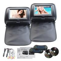 Black Color Pair Of Dvd Headrest Pillow 7 LCD Car Pillow Monitors DVD Player Dual Twin