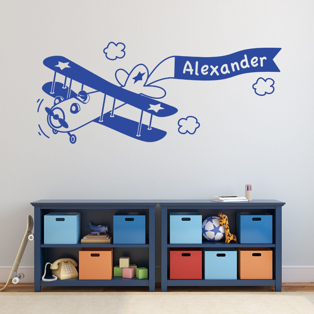 Removable DIY Boys Room Decal Custom Boys Name Plane Wall Sticker Kids Bedroom Nursery Boys Decal Vinyl Wall Decal Mural D 89 in Wall Stickers from Home Garden