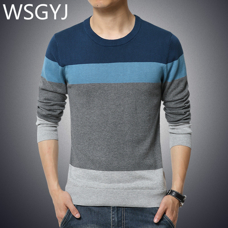 2019 Autumn Casual Men's Sweater Round Neck Striped Slim Fit Knitwear Mens Sweaters Pullovers Pullover Men Pull Homme