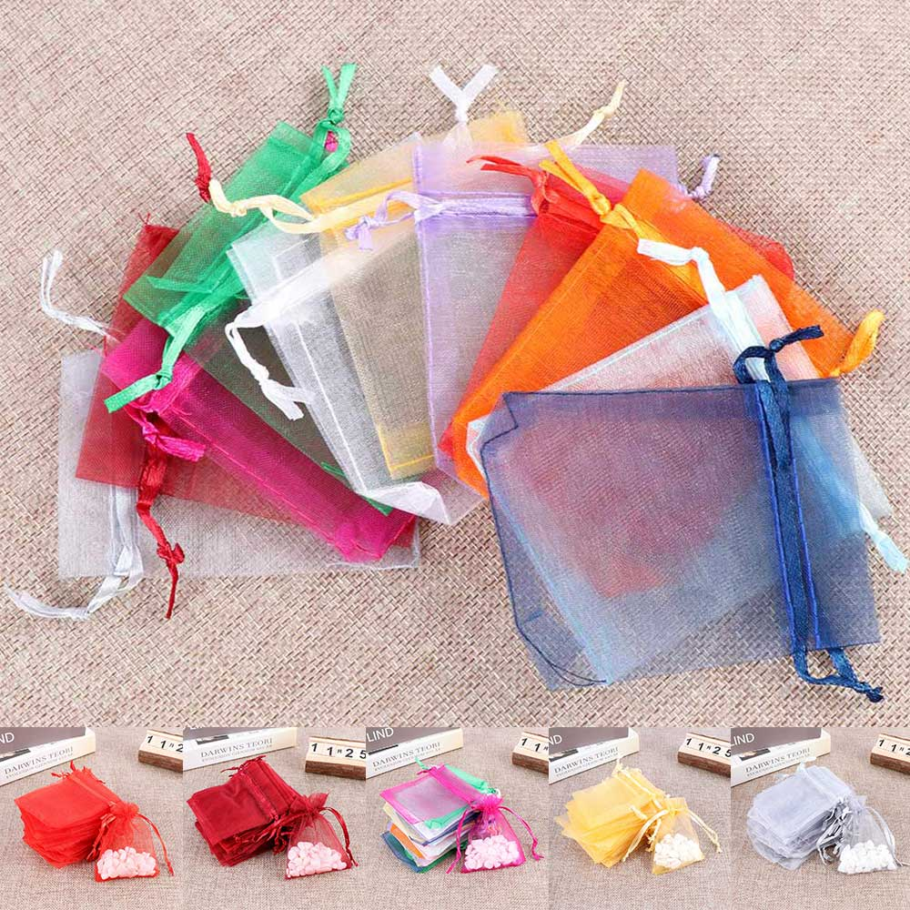 50pcs/set Organza Bags Wedding Party Decoration Gift Bags Small Jewelry Packaging Gifts Tulle Fabric Organza Sheer Bag Candy Bag-in Gift Bags & Wrapping Supplies from Home & Garden