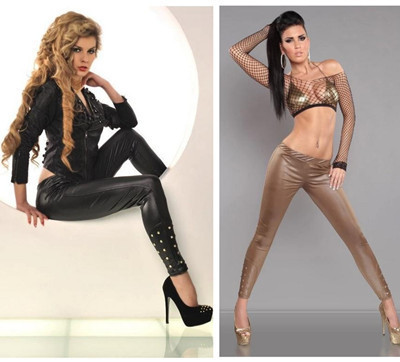 Hot-sale 2015 women fashion imitation leather legging female metallic decorate Leggings high elastic trousers slimming girlpants