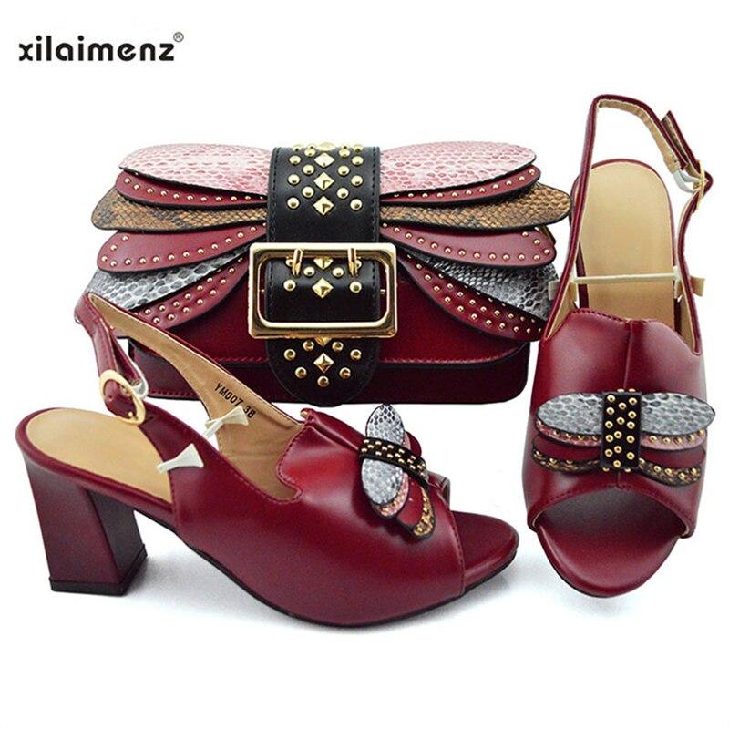 الصيف تصميم جديد أنيقة النبيذ اللون أحذية و حقيبة لمطابقة مجموعة النيجيري السيدات مريحة الكعوب ل الملكي الزفاف حزب-في أحذية نسائية من أحذية على  مجموعة 1