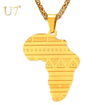 U7 Stainless Steel Gold/ Rose Gold Map of Africa Pattern Personalized Pendant Necklace Men/Women Hip Hop African Jewelry P1099