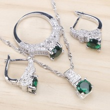 Bridal 925 Sterling Silver Jewelry Sets Green Zirconia Stone Earrings For Women Wedding Jewelry With Ring Pendant Necklace Set цена